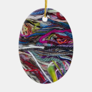 Colorful  wool fibres ceramic oval decoration