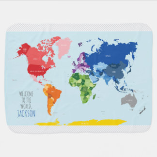 Colorful World Map Baby Blanket