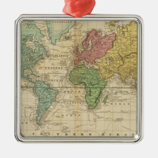 Colorful World Map Christmas Ornament