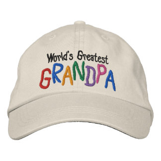 Colorful World's Greatest Grandpa Embroidered Hats