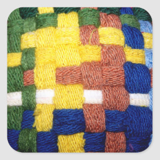 Colorful Woven Pattern Square Sticker