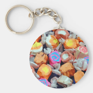 Colorful wrapped taffy candy basic round button key ring