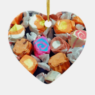 Colorful wrapped taffy candy ceramic heart decoration
