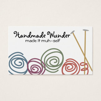 colorful yarn balls knitting needles business c... business card