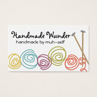 colorful yarn balls knitting needles business card