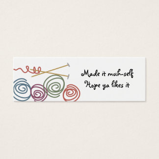 colorful yarn balls knitting needles gift tags ... mini business card