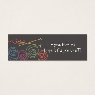 colorful yarn balls knitting needles gift tags mini business card