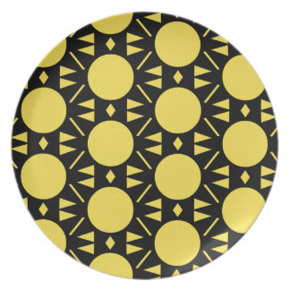 Colorful Yellow and Black Circle Style Pattern Plate