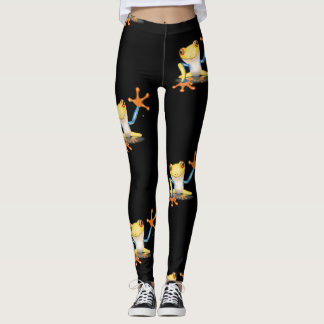 Colorful Yellow & Blue Red Eyed Tree Frog Leggings