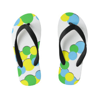Colorful Yellow Green Dots - Kids Flip Flops