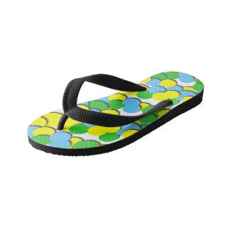 Colorful Yellow Green Dots - Kids Flip Flops