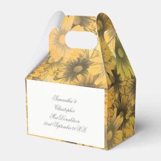 Colorful yellow orange flowers wedding favour box