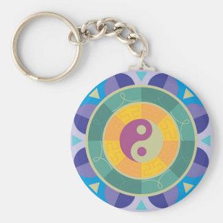 Colorful Yin Yang Pattern Basic Round Button Key Ring