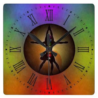Colorful Yoga Chakras Yin Yang Roman Numerals Wallclock