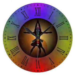 Colorful Yoga Seven Chakras Yin Yang Balance Large Clock