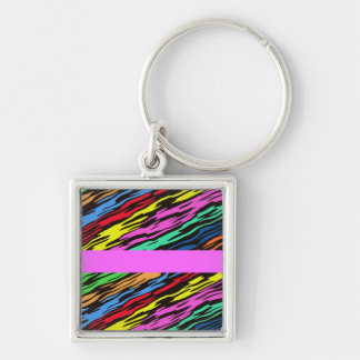 COLORFUL ZEBRA PATTERN Silver-Colored SQUARE KEY RING