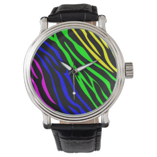 Colorful zebra texture wrist watch