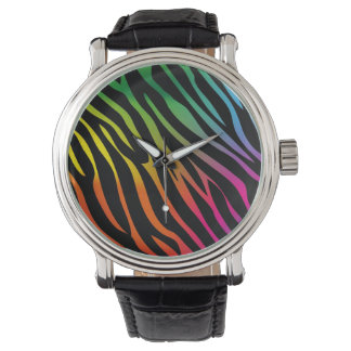 Colorful zebra texture wrist watches