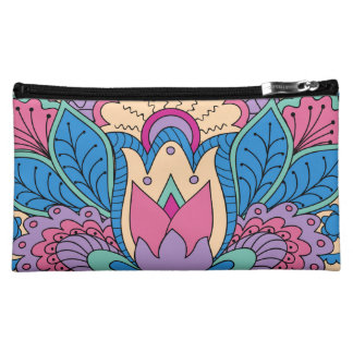 colorful zen pattern with Lotus Makeup Bag