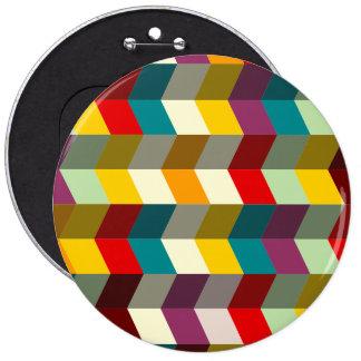 Colorful zig zag pattern 6 cm round badge