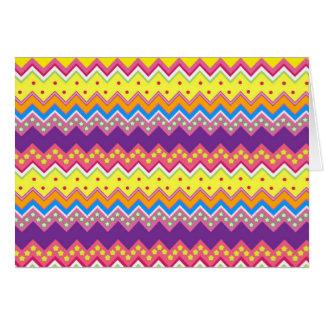 Colorful Zig Zag Stripes Chevron Pattern Greeting Card