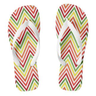 Colorful Zigzag Chevron Pattern Flip Flops