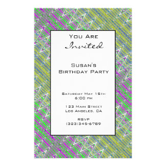 Colorful Zigzag Pattern Party Invitation 14 Cm X 21.5 Cm Flyer