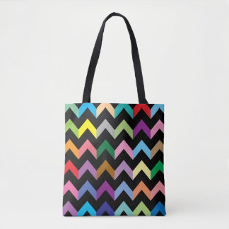 Colorful zigzag pattern tote bag