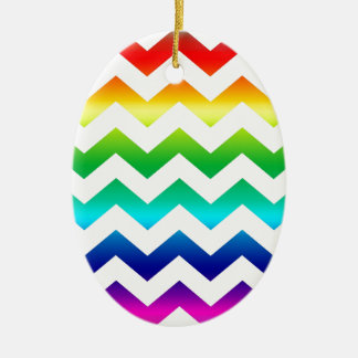 Colorful ZigZag Rainbow on White Christmas Ornament