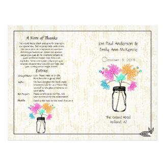 Colorful Zinnia Mason Jar Wedding Program 21.5 Cm X 28 Cm Flyer