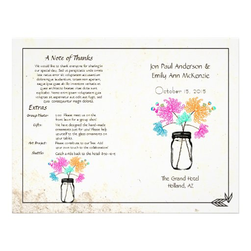 Colorful Zinnia Mason Jar Wedding Program Flyer