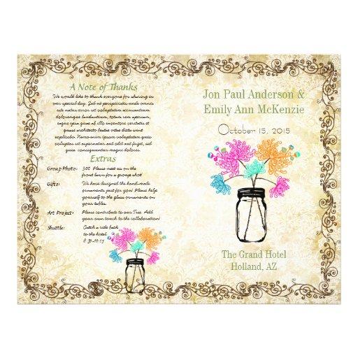 Colorful Zinnia Mason Jar Wedding Program Personalized Flyer