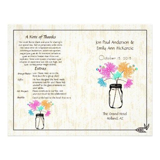 Colorful Zinnia Mason Jar Wedding Program Flyers