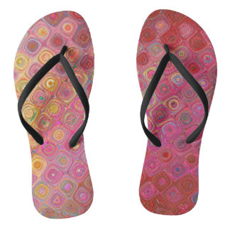 Colorfull Artistic Retro Pattern Flip Flops