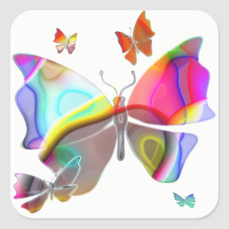 Colorfull Butterfly Square Sticker