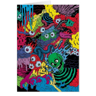 colorfull gouls tattoo design greeting card