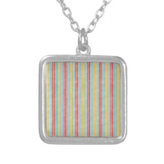Colorfull Rainbow Kawaii Sweet Small Silver Square Pendant Necklace