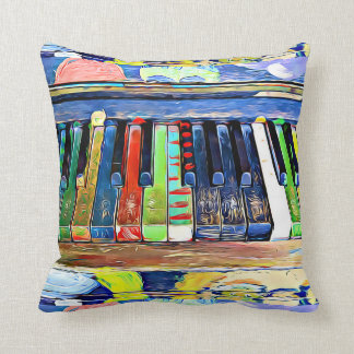 Colorfully Painted Piano Keys Throw Pillow