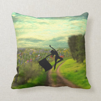 Colorguard Dancer Leaping with Flag Cushion