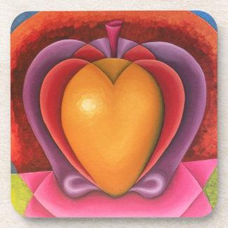 Coloridas Frutas, manzana, mango, corazón Coasters