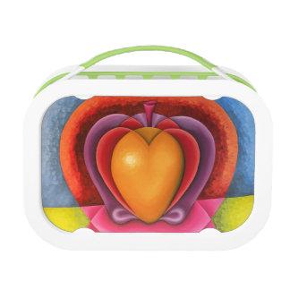 Coloridas Frutas, manzana, mango, corazón Lunch Box