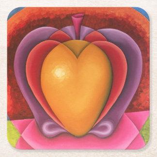 Coloridas Frutas, manzana, mango, corazón Square Paper Coaster