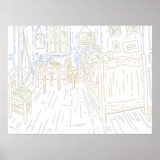 Coloring Page - Bedroom in Arles Van Gogh Poster