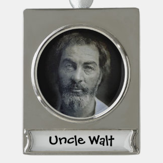 Colorized Walt Whitman Portrait Silver Plated Banner Ornament