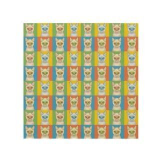 Colorpoint Shorthair Cat Cartoon Pop-Art Wood Print