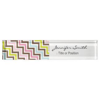 Colors Diagonal Zigzag Chevron Pattern Name Plate