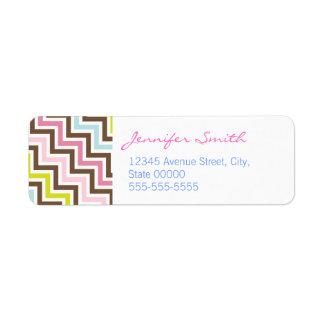 Colors Diagonal Zigzag Chevron Pattern Return Address Label