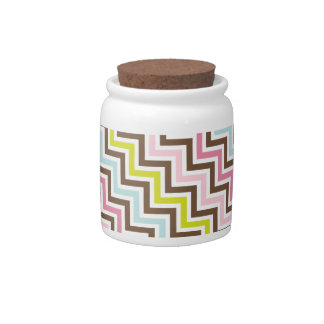 Colors Diagonal Zigzag Chevron Pattern Candy Jars
