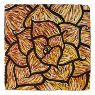 Colors In Motion Modern Abstract Flower Petals Trivet