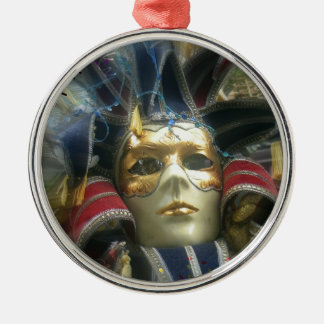 Colors Masquerade Round Metal Christmas Ornament